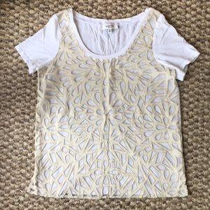 Aritzia Babaton Mesh and Cut Out Shirt with Silk